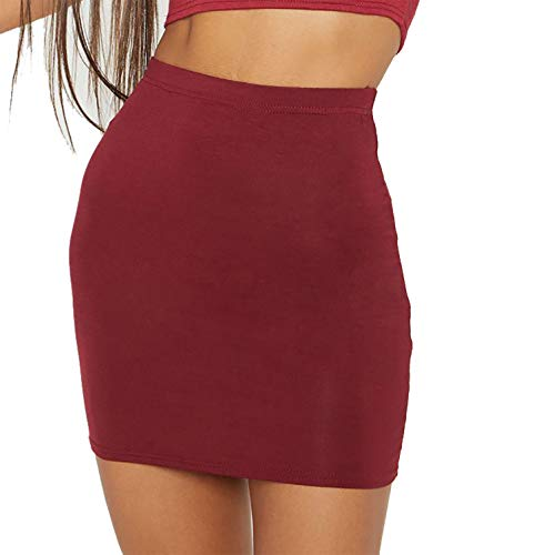 PrettyFashion Mujer Falda Básica Recta de Tiro Alto Mini Falda Clásica Cintura Alta Atractiva Talla Grande (Vino Rojo, S)