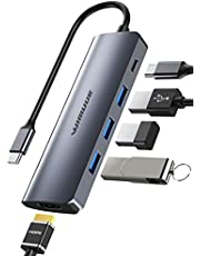 Hub USB C, WIMUUE Adattatore USB C 6 in 1 per MacBook Pro/Air (Thunderbolt 3), con Porta USB-C 4K a HDMI, USB 3.0, Power Delivery da 100W per iPad Pro/Dispositivi Type C