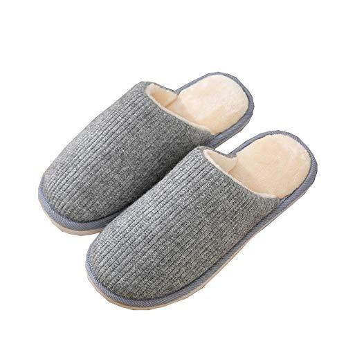 KIKIGO Zapatillas de casa para Hombre,Zapatillas de Hombre de Tejido de Punto de algodón cálido, Zapatos de casa Antideslizantes para el hogar Suaves y cómodos.-Gris Claro_40