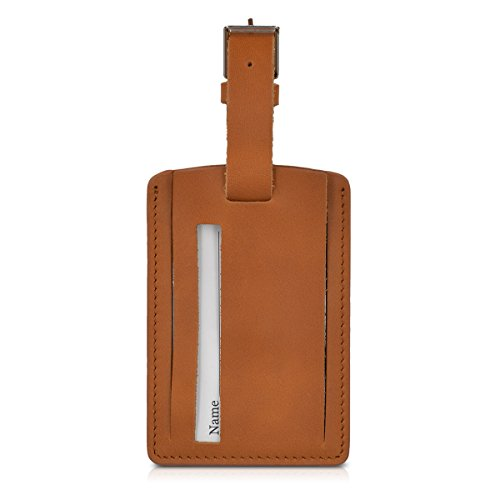 kalibri Kofferanhänger Adressanhänger Koffer Tag - Namensschild Schulranzen Gepäck Anhänger - Reise Gepäckanhänger aus Leder in Braun