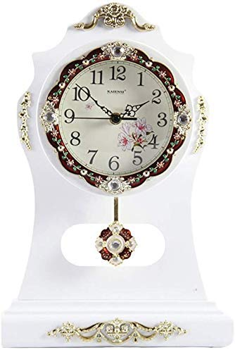 LHQ-HQ Reloj de escritorio europeo, sala de estar, decoración de dormitorio, madera maciza, creativo, silencioso, reloj de mesa antiguo, relojes (color D: D)