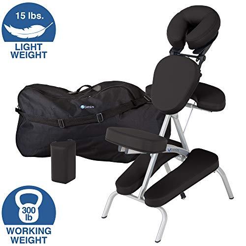 EARTHLITE Vortex Kit portable chaise de massage - Portable, compact, solide et léger (7kg) incl. étui de rangement portable, coussin et sangle pour le sternum