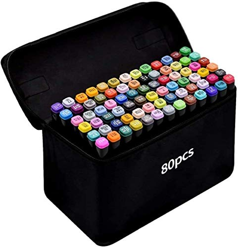 Marcatore 80 Colori, Marker Pen Pennarello Set di Pennarelli Acquerello a Doppia Punta, Pennarelli Graffiti e Art Sketch Pennarelli Adatto per Principianti Creativi e Artista (nero)