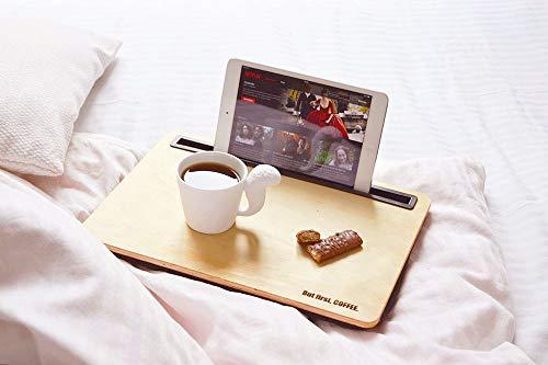 Smyla Knie-Tablett mit Gravur | personalisierbares Tablett mit Kissen aus feinem Holz für das Tablet oder den Laptop | Schoßtablett für den perfekten Relaxday und Homeoffice iBed 2.0