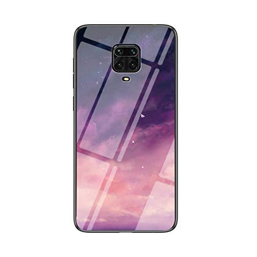 BaiFu Funda para Xiaomi Redmi Note 9S Cubierta de Cristal Degradado de Color Caja de Vidrio Templado Case Cover para Xiaomi Redmi Note 9S (Fantasy Estrellado)