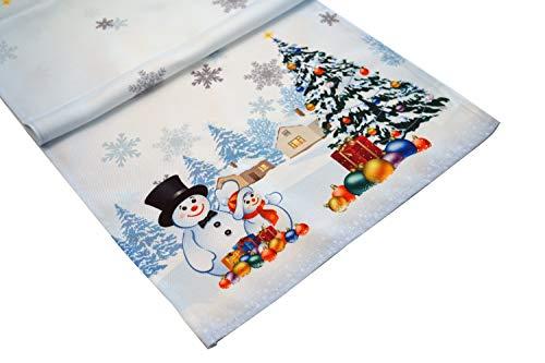 khevga Tischläufer Weihnachten Tischdeko Bedruckt Schneemann 40x140 cm