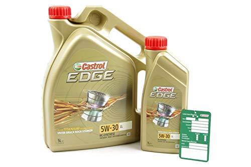 Aceite de motor de la marca Castrol Edge Titanium FSTTM, 6 litros, 5W-30 LL (1x5 lts + 1x1 lt)