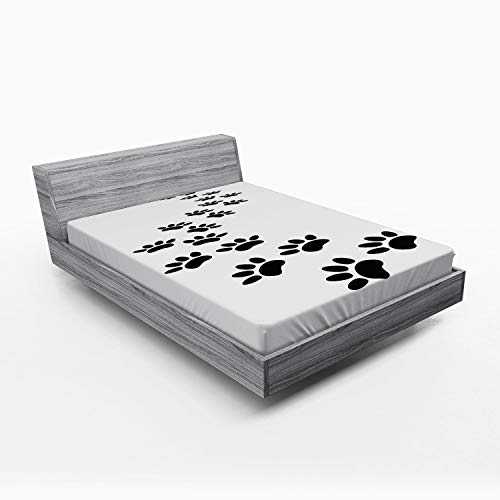 Lunarable Animal Fitted Sheet, Monochrome Paw Print Illustration Kitten and Dog Pet Themed Abstract Silhouettes, Soft Decorative Fabric Bedding All-Round Elastic Pocket, Queen Size, White and Black