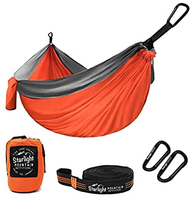 Starlight Mountain Outfitters Single Camping Hammock – Portable Lightweight Parachute Nylon with Tree Straps, Best Hammock for Backpacking, Hiking, Camping, Outdoors Travel