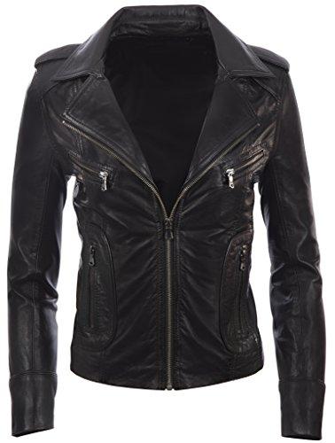 Aviatrix - Chaqueta de cuero para mujer (N8UL), Chaqueta, Mujer, color Negro, tamaño XXXXXXL
