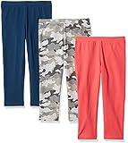 Amazon Essentials Girl's 3-Pack Capri Legging, Camo/Pink/Blue L