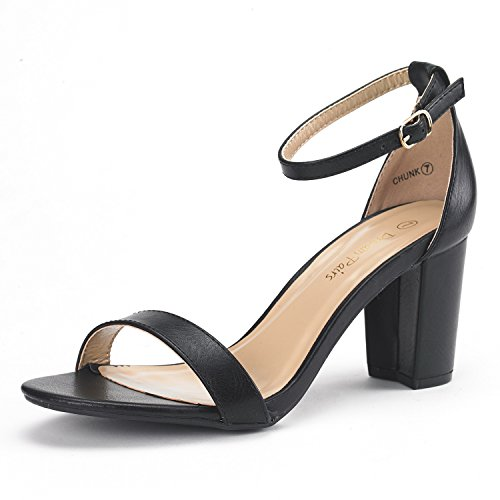 DREAM PAIRS Women's Chunk Black Pu Low Heel Pump Sandals - 7 M US