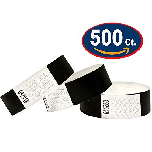 500 Eintrittsbänder aus Tyvek, BLACK - SCHWARZ - Party Einlassbänder, Securebänder, Festival Armbänder, Kontrollbänder für dein Event
