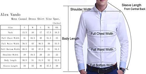 Alex Vando Mens Dress Shirts Wrinkle Free Regular Fit Stretch Bamboo Men Shirt,Black,L