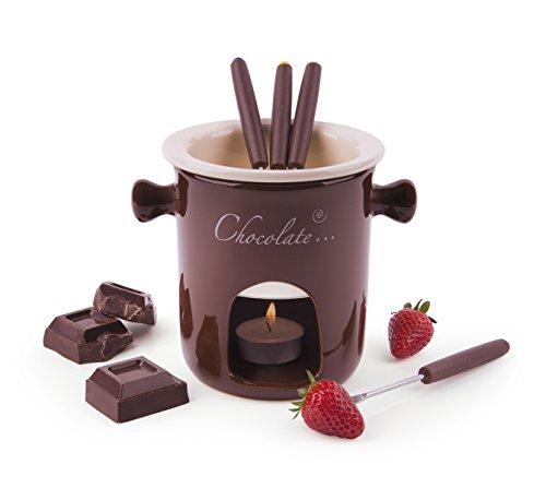Excelsa Chocolate Service à Fondue au Chocolat, 7pièces, céramique, crème Marron, Manche Marron, 12x12x13,5cm