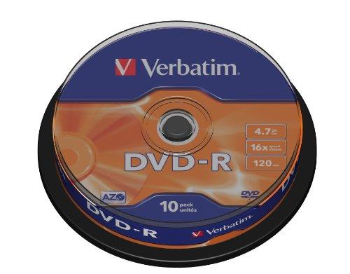 Verbatim DVD-R 16x Matt Silver 4.7GB I 10er Pack Spindel I DVD Rohlinge beschreibbar I 16-fache Brenngeschwindigkeit & Hardcoat Scratch Guard I DVD-R Rohlinge I DVD leer I Rohlinge DVD