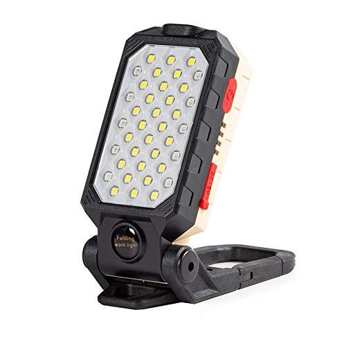 Topwor Torcia da lavoro COB LED, ricaricabile tramite USB, portatile, con base magnetica e gancio per riparare auto, officina, campeggio, esterno e di emergenza