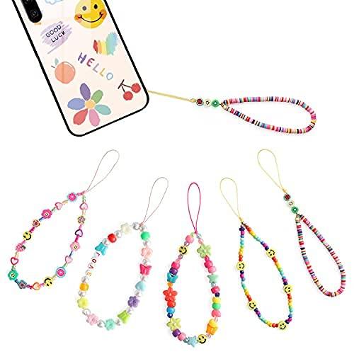 5 unidades de correas para teléfono con diseño de emoticono sonriente con perlas para teléfono móvil, estilo chicle, brazalete fijo, cámara, llave de coche, teléfono, cadena para mujeres