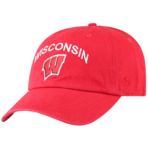 Top of the World Wisconsin Badgers Men's Hat Arch, Red, Adjustable
