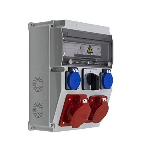 ASTAT 396 Standard Plus IP65 32A/5P, 16A/5P, 2x230V IP44, interruptor giratorio de 3 posiciones, protectores Schneider
