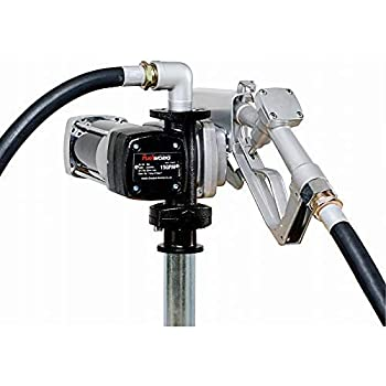Fuelworks 10305708A 12V 15GPM Fuel Transfer Pump Kit with 14' Hose, Extensible Suction Tube and Manual Nozzle, Black