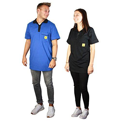 Wetec ESD-Polo-Shirt light, mit schwarzem Kragen, Größe L, blau