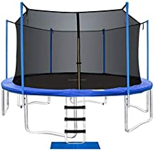 ORCC New Upgrade Trampoline Maximum Weight Capacity 400LBS with Safety Enclosure Net Wind Stakes Rain Cover Ladder, 15 14 ...