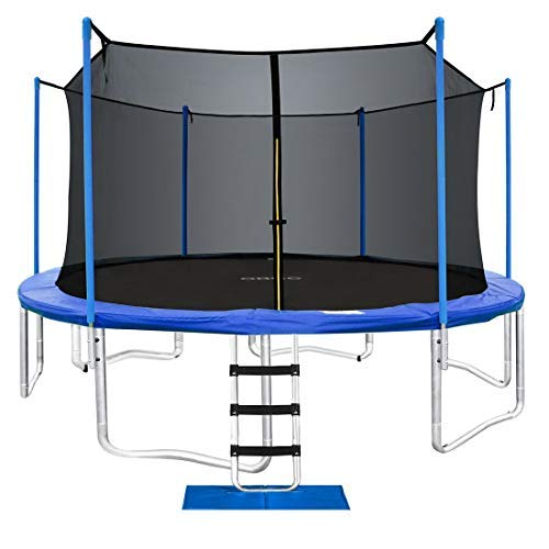 ORCC New Upgrade Trampoline Maximum Weight Capacity 400LBS with Safety Enclosure Net Wind Stakes Rain Cover Ladder, 15 14 12 10 FT Outdoor Trampoline for Kids Adults, Backyard Trampoline