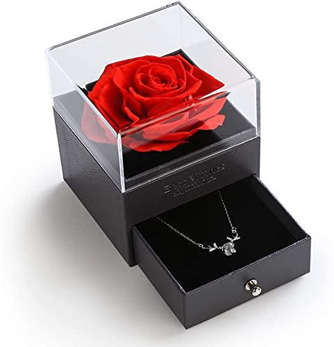 Forever Rose - Collar chapado en oro con flores eternas y plata de ley 925 con texto 'I love you' en 100 idiomas, regalo para mujer, día de la madre, día de San Valentín, cumpleaños, color rojo
