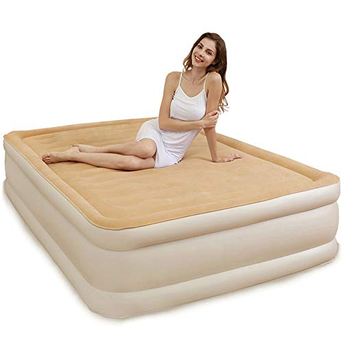 Comfortable Camping Air Bed Flocked Inflatable Beds with Built in Electric Pump Single Double Optional Portable Lunch Break Air Mattress Beige Enjoy (Size : 203×152×45cm)