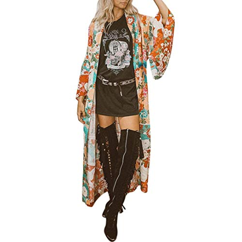 Cardigan Damen Lang Mode Kimono Langarm Vintage Elegante Sommer Blumenprint Festlich Bekleidung Loose Lässig Hippie Boho Ethno-Style Strand Bikini Cover Up Strandtunika (Color : Orange, Size : S)