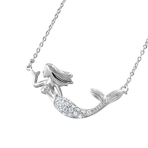 Sterling Silver CZ Mermaid Pendant Necklace, 16+2' Extension