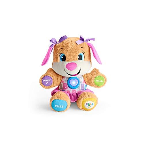 Fisher-Price FPP53 - Lernspaß Hundefreundin Baby Spielzeug und Plüschtier, Lernspielzeug mit Liedern und Sätzen, mitwachsende Spielstufen, Spielzeug ab 6 Monaten, deutschsprachig