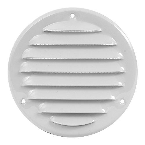 Rejilla de ventilación de 240 mm de diámetro, color blanco, con protección contra insectos y entrada de aire, redonda, de metal, dimensiones interiores: 200 mm