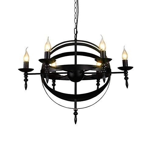 XAJGW 6 Licht Foyer Kronleuchter, Pendelleuchte mit Laterne Stil Käfig hängen Leuchte für Hall Kitchen Island, schwarz lackiert