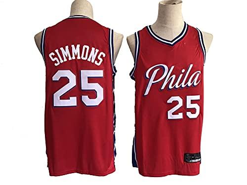 GLACX NBA Men's Jerseys, 76ers 25# Simmons Clásico Ropa de Baloncesto, Tela Respiradora Fresca Camisetas de Deportes Retro, Fan Unisex Swingman Jerseys,S