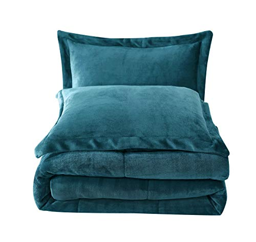 Chezmoi Collection 3-Piece Micromink Sherpa Reversible Down Alternative Comforter Set (King, Teal)