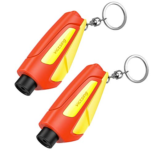VicTsing Family Pack of 2, The Emergency Keychain Car Escape Tool, 2-in-1 Seatbelt Cutter and Window Breaker for Land &...