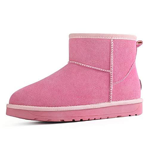 N-B Botas de Nieve para Mujer, además de Terciopelo Grueso, Zapatos de Invierno para Mujer, Zapatos cálidos de Cuero para Nieve, algodón, Botas Informales para Todos los Partidos