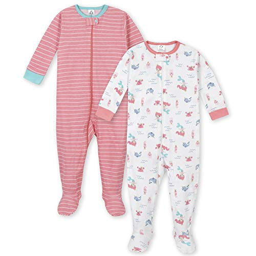 GERBER Baby Girls\' 2-Pack Footed Unionsuit, Mermaid, 12 Month
