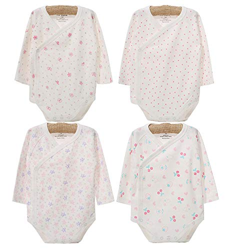 Infant Baby Boys Girls Long Sleeves Kimono Onesies Cotton Side Snap Bodysuit Pack of Fall Winter Baby Clothes (0-3 Months)