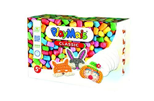 PlayMais Fun to Play Masks Bastel-Set für Kinder ab 3 Jahren | Motorik-Spielzeug mit 500 Stück und 6 Masken aus Karton zum Gestalten | Natürliches Spielzeug | Fördert Kreativität & Feinmotorik