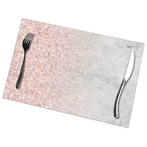 Place Mats, Dining Table Placemats Sets of 6 Heat Resistant Washable Table Mats Blush Pink Sparkles On White And Gray Marble