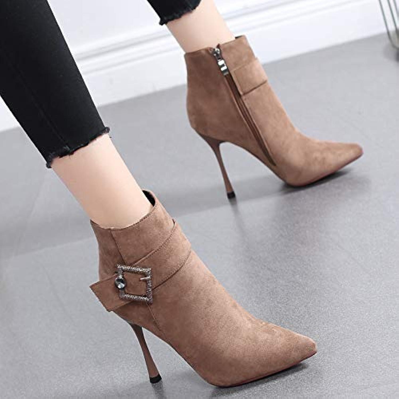 HRCxue Pumps Stiefelies weibliche Spitze Stiefel Strass Temperament High Heels Wilde Martin Stiefel weiblich, 34, Wildleder Wildleder