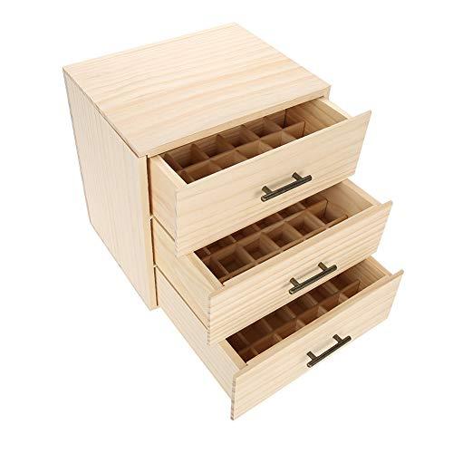 GOTOP Behälter für ätherische Öle, Box für ätherische Öle aus Holz 3 Ebenen, 90 Slots Holzkoffer Essenzialöl Wooden Box Organizer Essential Oil Aromatherapy Container