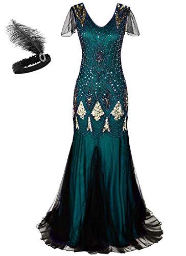 Abito lungo da donna anni '20 stile Charleston, abito da sera lungo, con lustrini e orlo a sirena, disponibile in taglie forti GA80 Geeen Gold XL