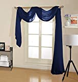 Decotex Premium Quality Sheer Voile Scarf Valance for Home & Event Designs (37' X 216', Navy Blue)