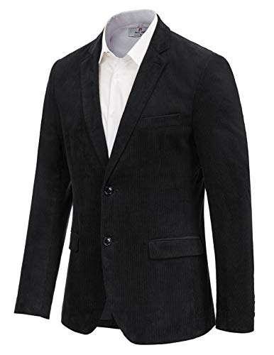 Mens Casual Slim Fit 2 Button Corduroy Sport Jacket Black Blazer