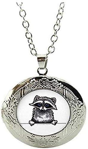 Raccoon Locket Necklace Raccoon Jewelry Animal Picture Jewelry Charm Art Picture Jewelry
