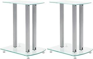 vidaXL Aluminum Speaker Stands Transparent Safety Glass 2pcs